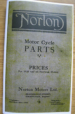 VINTAGE NORTON ILLUSTRATED SPARES BOOK 1925