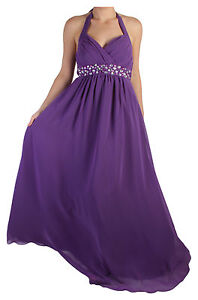 Womens Long Halterneck Chiffon Prom Formal Diamante Maxi Evening Dress  8 to 22