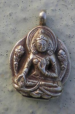 Elegant Tibetan White Tara Pendant w/ 925 Sterling Silver Setting