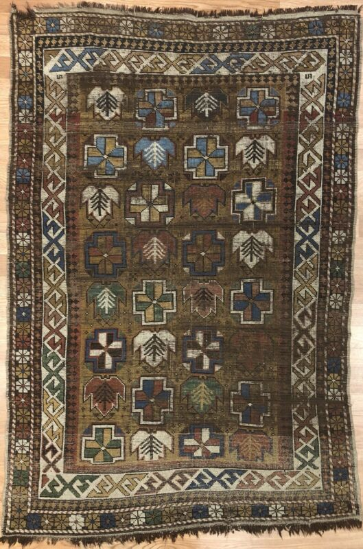 Classic Caucasian - 1980s Antique Kazak Rug - Tribal Carpet - 3.3 X 4.10 Ft.