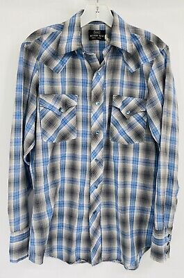 1970s Mens Shirt Styles – Vintage 70s Shirts for Guys Vintage 1970s Sears Western Wear Shirt Plaid Blue & Gray Snap Button Down Shirt $28.49 AT vintagedancer.com
