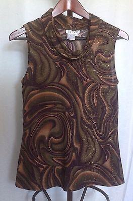 Tess Metallic Sleeveless Knit Top Cowl Neck Brown Green Swirl Pattern Size M