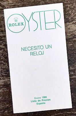 ROLEX Vintage 1986 Price List Spain 1016 1019 16550 16750 6263 6265 Daytona OEM