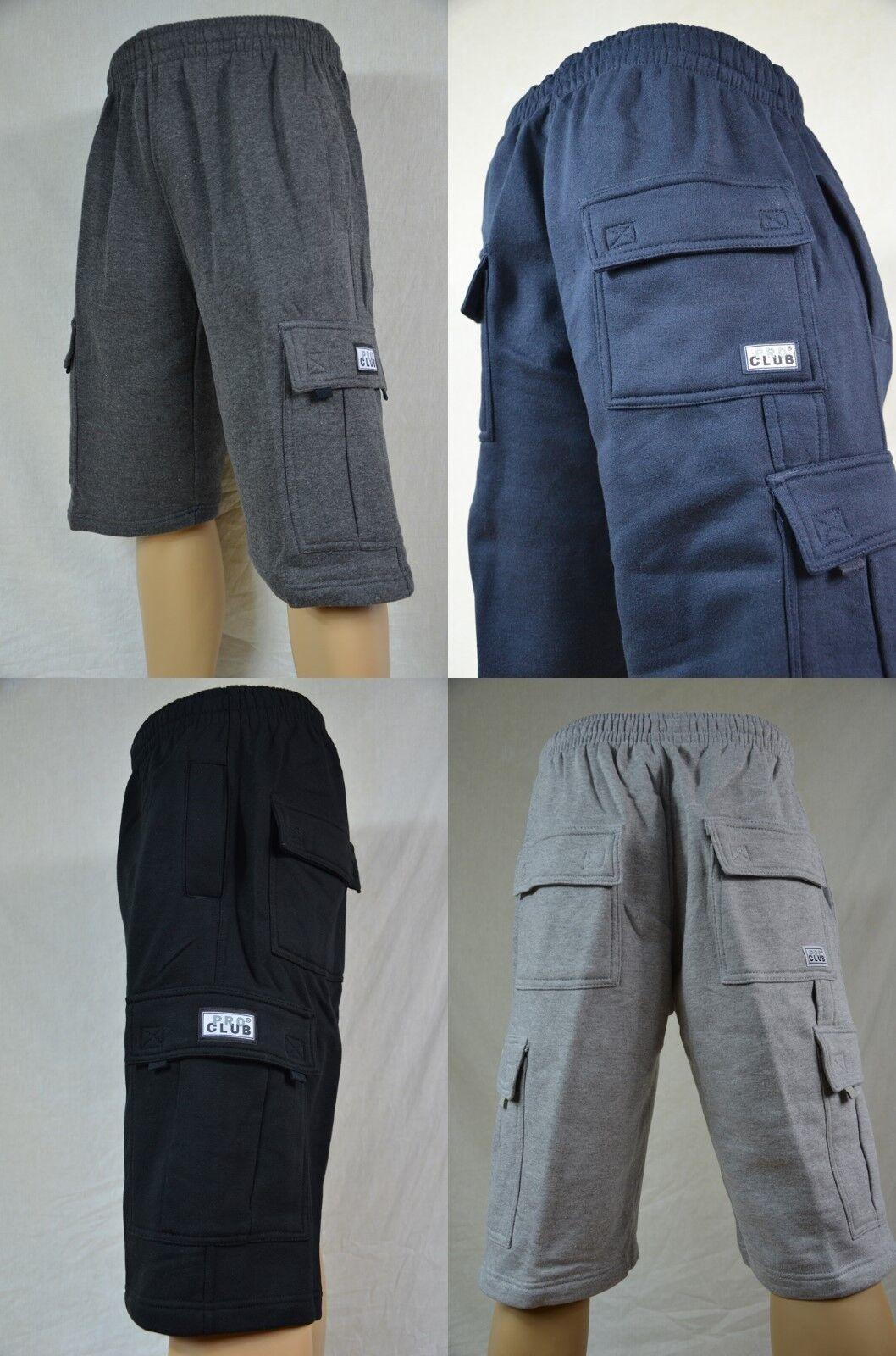 NWT Pro Club Heavy Weight Fleece Cargo Shorts Mens Sweatpant