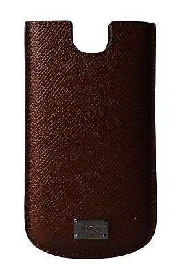 NEW DOLCE & GABBANA Phone Case Brown Leather Silver Logo Cover 13x7.5cm