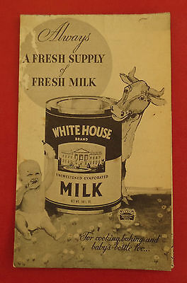White House Brand Evaporated Milk Recipe Pamphlet : Cow : Baby : Cooking : Dairy