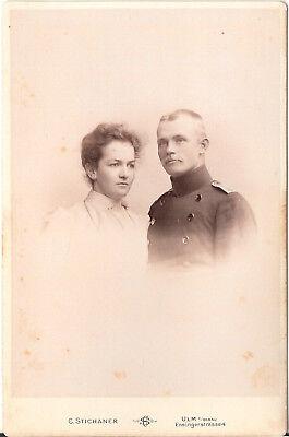 CAB photo Soldat mit feiner Dame - Ulm 1890er