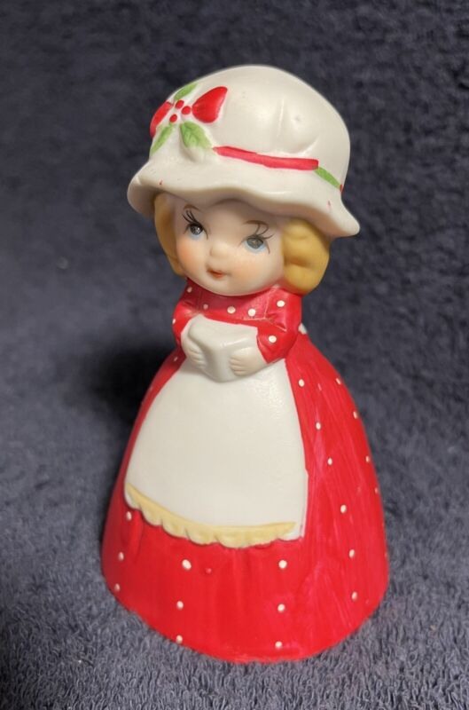 """VINTAGE CHRISTMAS BELL--GIRL IN Red Dress With White Apron & Hat 4"""""""