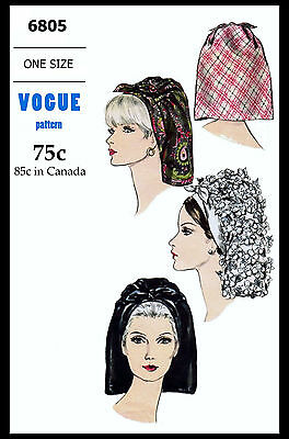 # 6805 VOGUE SCARF HAT Fabric Material Sewing Pattern Chapeau CHEMO Alopecia