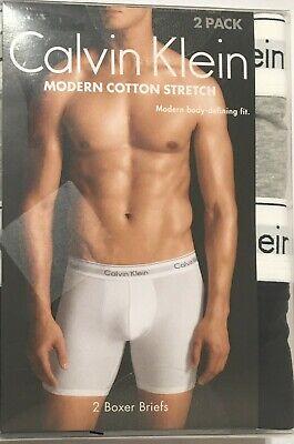 Calvin Klein Modern Stretch 2-Boxer Briefs Medium 32-34  Gray/Black NB1396