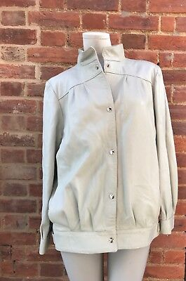 Vintage 80s 90s Beige Stone Leather Jacket Blouson 10