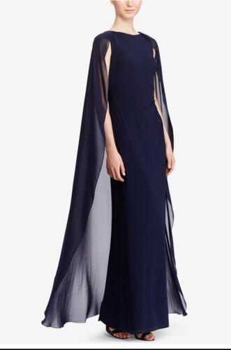 Lauren Ralph Lauren Navy Georgette Cape Evening Gown Size 14 NWT