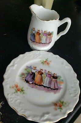 ANTIQUE PORCELAIN CHILDS PICTURE PLATE/CREAMER TOY BAVARIAN/GERMAN 4 DUTCH GIRLS