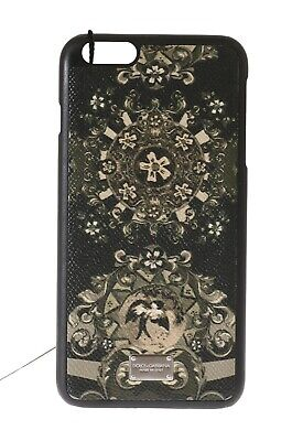 NEW $200 DOLCE & GABBANA Phone Case Black Leather Carreto Print iPhone6 Plus