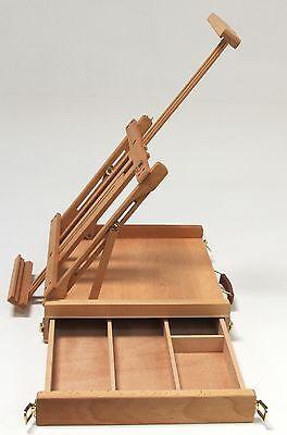 Professionelle Tischstaffelei aus Buchenholz FSC®, inkl. Malkoffer, Höhe -80 cm