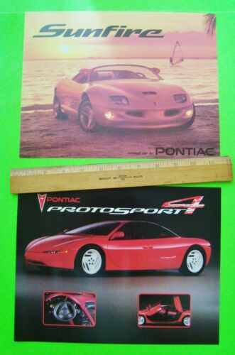 2 Diff PONTIAC CONCEPT CAR BROCHURES / CARDS 1990