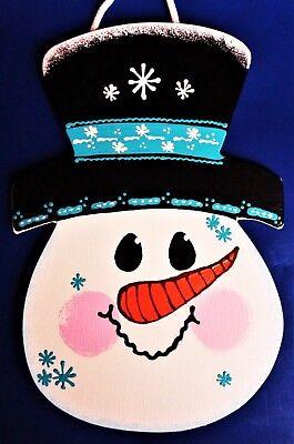 - SNOWMAN WINTER SIGN Wall Art Door Hanging Hanger Plaque Seasonal Handcrafted