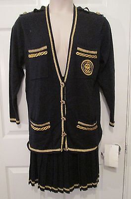 Black and Gold Nautical Knit Skirt  Jacket Suit Size Small S by SK & Company NWT