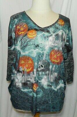 Theme To Halloween (Thomas & Olivia TO $46 Halloween Theme Embellished  T-shirt Sz 1X NWT!)