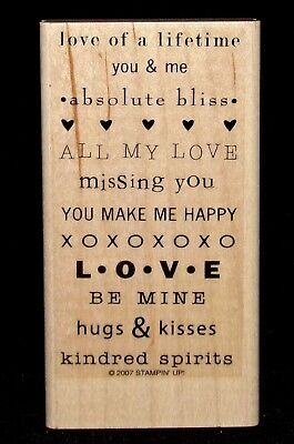 all my love Rubber Stamp missing you hugs & kisses by Stampin Up So Many (All My Love My Hugs My Kisses)