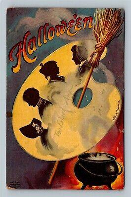HALLOWEEN Vintage Signed Ellen Clapsaddle IAP Postcard Art Palette Broom Spooky