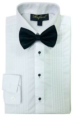 Tuxedo Dress Shirt Boys White Long Sleeve Bow Tie Kids Child Toddler Size 2T-20
