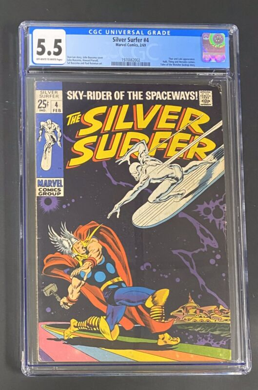 Silver Surfer #4 (Feb 1969, Marvel) CGC 5.5 Classic Surfer vs Thor Cover