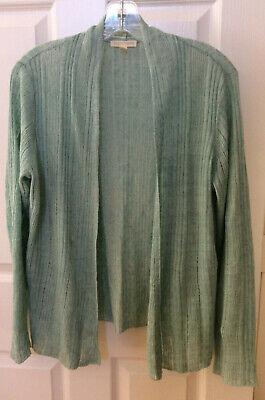 Women's Eileen Fisher Light Aqua Sweater Linen Knit sz M Open Topper EUC