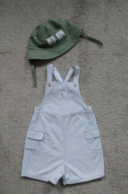 Janie and Jack Koala Bear Layette Striped Romper Shortall Hat Set 12-18 Months