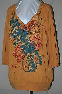 STYLE & CO SO PRETTY BLOUSE RUCHING METALLIC GOLD & TURQUOISE BEADS TUNIC LEN 1X