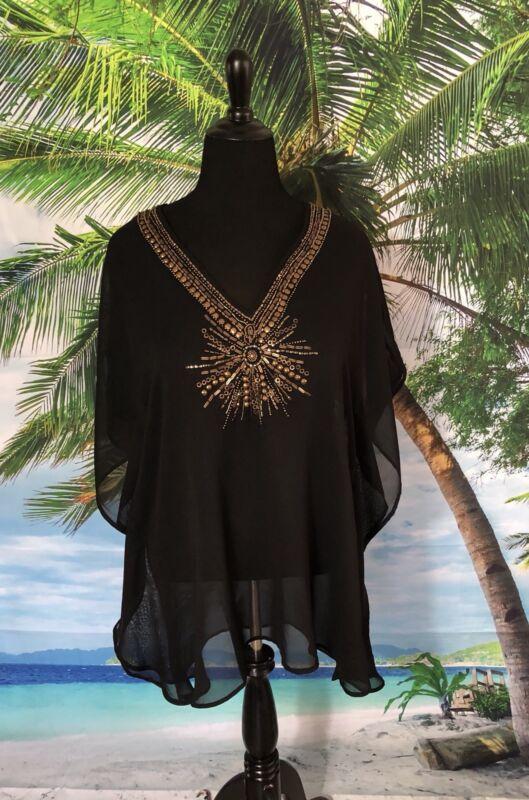 Women's Gold Beading Trim Kaftan Chiffon Swimsuit Bikini Beach Cover up S/M