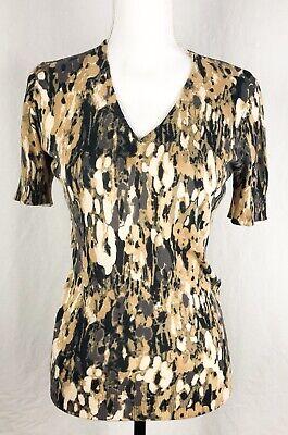 ANN TAYLOR Brown Animal Print Knit Blouse Top Size Petite S