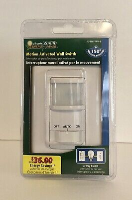 Heath/Zenith Energy Saver Motion Activated Wall Switch (SL-6107-WH-E). Zenith Wireless Switch