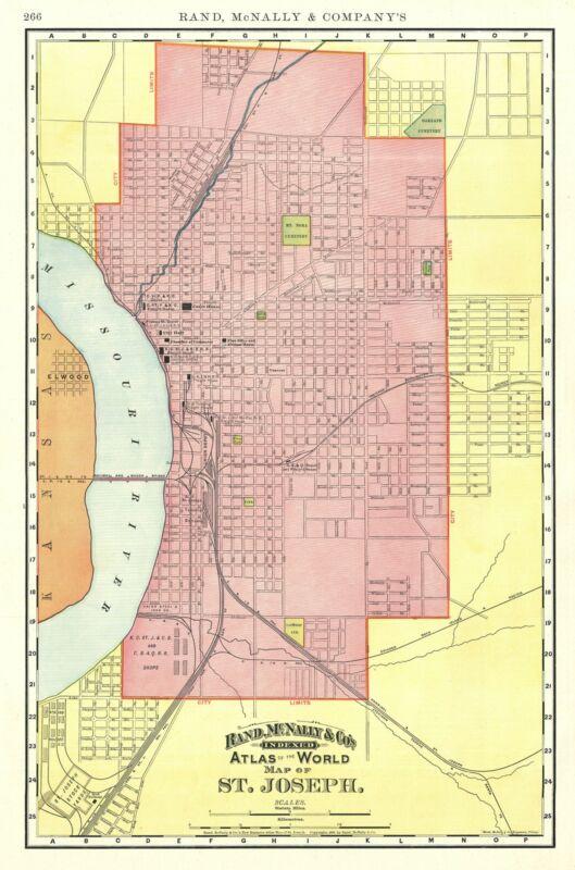 1892 Rand McNally Map or Plan of St. Joseph, Missouri
