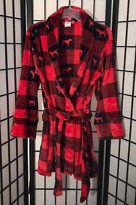 Cozy Robe (VICTORIA'S SECRET XS/S M/L RED BLACK GINGHAM PLAID SOFT PLUSH COZY SHORT)