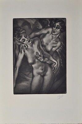 Rare 1927 Art Deco Pencil Signed Mezzotint of 2 Nude Ladies Arthur Greuell
