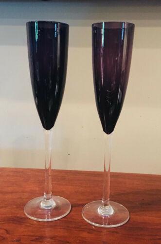 VINTAGE 8 oz. Champagne Flute Glasses Amethyst (Deep Purple) Set of 2