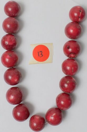 "14"" Strand 15 Gorgeous Real Red Coral Gemstone Large Round 25mm Beads Old Stock"
