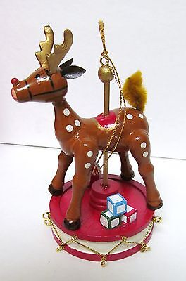 RUDOLPH MUSICAL TREASURE Christmas Ornament '84 HAND CRAFTED WOOD ELECTRONIC VTG