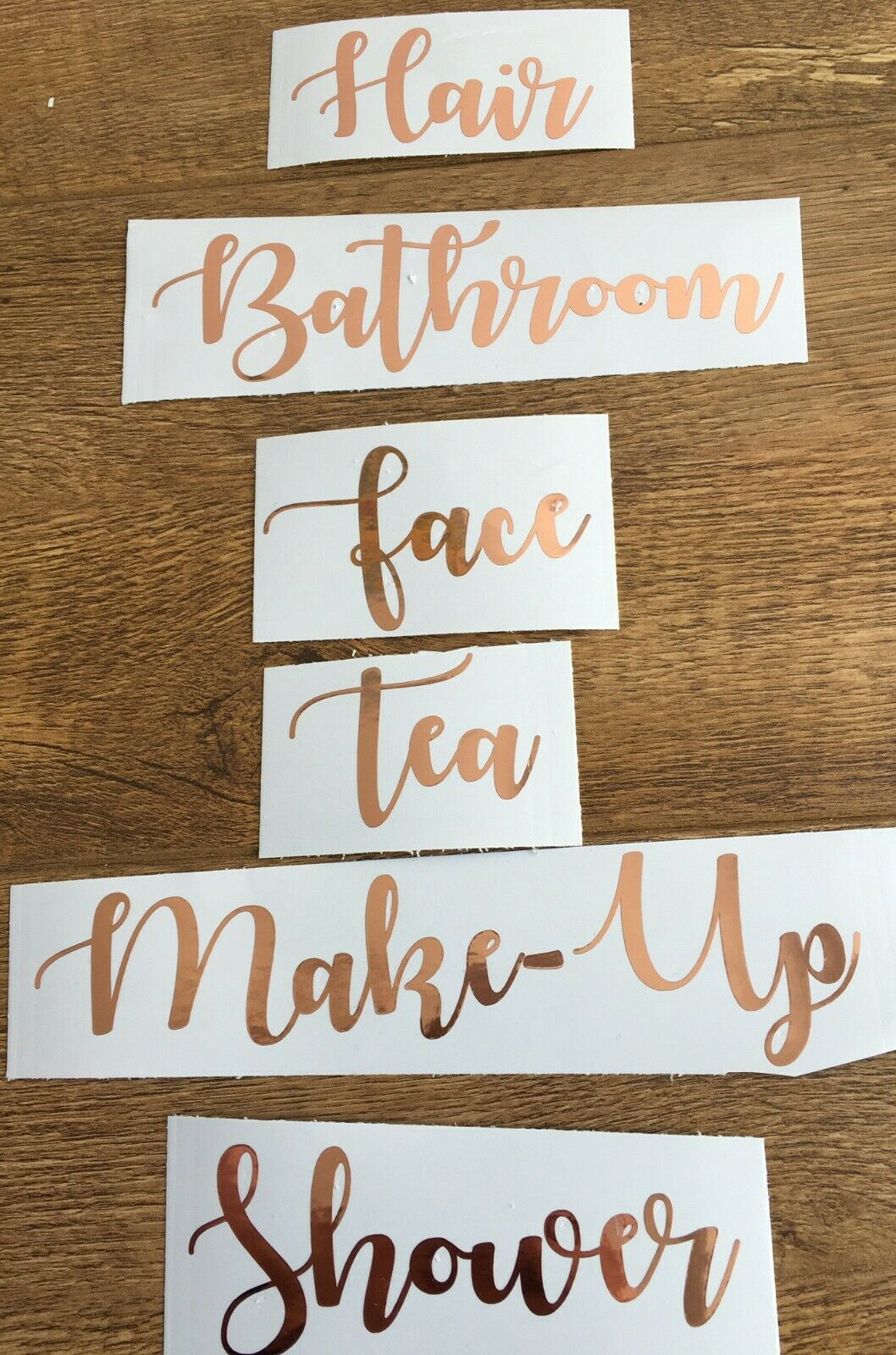 Rose Gold Vinyl Stickers, Chrome, Shiny Labels, Decals Storage, House, Mrs Hinch 3
