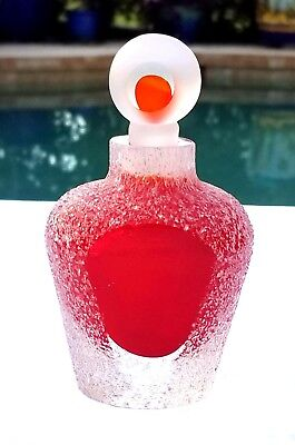 Fifth Avenue Crystal Red Art Glass Perfume Bottle, Iced, Sugar Coating & Frosted