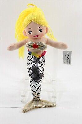 Mermaid Doll Soft Sculpture, Made in Denmark, Silver Tail, Yarn Hair