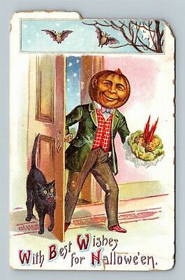 HALLOWEEN Vintage Postcard Walking JOL Bat Moon Black Cat - c1911 Paper Loss