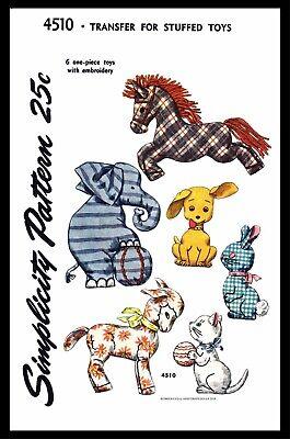 Simplicity 4510 Fabric Sewing Pattern 6 Stuffed Animals Bunny Cat Dog Horse -