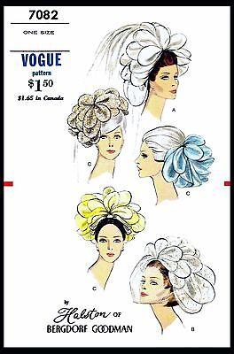BRIDAL VEIL HAT Wedding Sewing Pattern VOGUE #7082 Designer HALSTON Fascinator