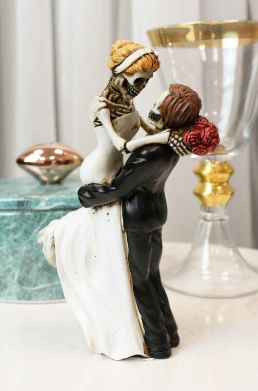 Love Never Dies Day Of The Dead Wedding Skeletons Groom Lifting Bride Figurine