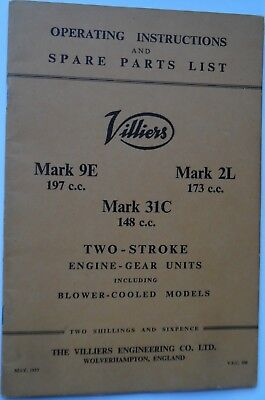 GENUINE VILLIERS Marks 9E - 2L & 31C Engine-Gear unit Instructions & Parts List