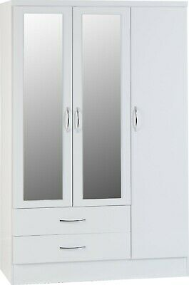 NEVADA WHITE GLOSS 3 DOOR 2 DRAWER MIRRORED WARDROBE
