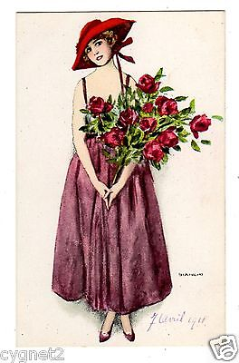 POSTCARD ITALIAN BIANCHI FASHIONABLE WOMAN WITH ROSES 1918
