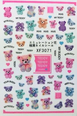 Used, Nail Art 3D Decal Stickers Teddy Bear Hug My Teddy My Buddy Cute Bear XF3071 for sale  Jacksonville